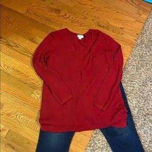 Old navy dark red V-neck sweater